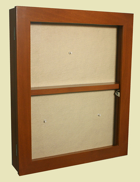 14x18 hinged door memory box with fixed shelf