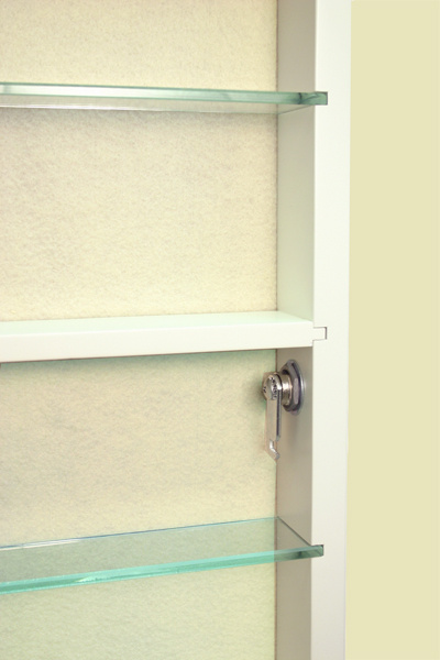 Hinged Door Memory Box with glass and wood adjustable shelves